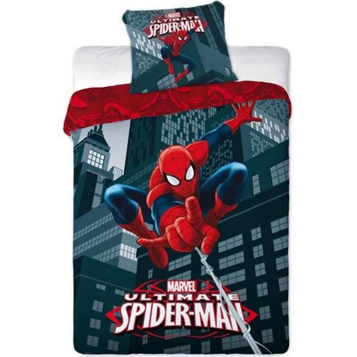 spiderman parure de lit housse de couette r versible achat vente parure de couette cdiscount. Black Bedroom Furniture Sets. Home Design Ideas