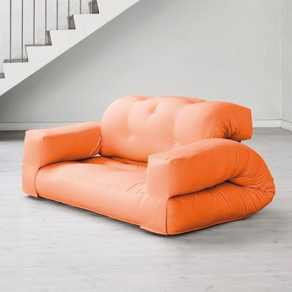 convertible hippo 140 futon orange achat vente canap sofa divan cdiscount. Black Bedroom Furniture Sets. Home Design Ideas