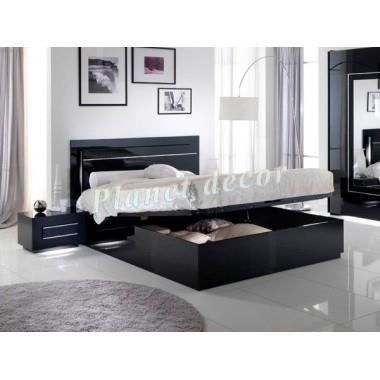 lit coffre city noir 160x200 achat vente structure de lit cdiscount. Black Bedroom Furniture Sets. Home Design Ideas