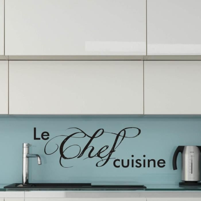 sticker mural le chef cuisine sticker blanc achat vente stickers cdiscount. Black Bedroom Furniture Sets. Home Design Ideas