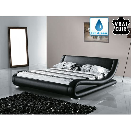 lit eau lit en cuir 180x200 cm noir avignon. Black Bedroom Furniture Sets. Home Design Ideas