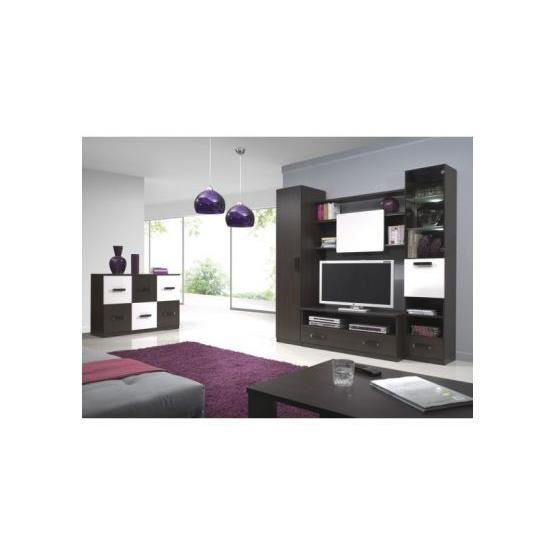 meuble tv design mural osvaldo wenge et blanc achat vente meuble tv meuble tv design mural. Black Bedroom Furniture Sets. Home Design Ideas
