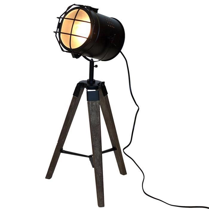 lampe tr pied projecteur design vintage et r tro en m tal inox et bois achat vente lampe. Black Bedroom Furniture Sets. Home Design Ideas