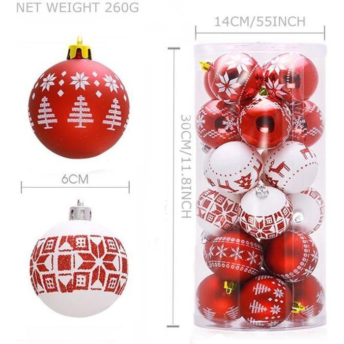 24 boules de Noël blanc et rouge, décoration arbre noël boules