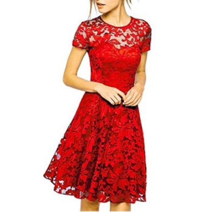 Robe rouge ceremonie mariage pour femme -