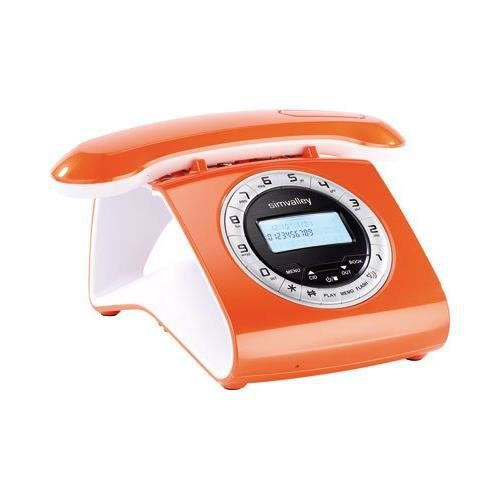 t l phone sans fil dect r tro orange achat t l phone. Black Bedroom Furniture Sets. Home Design Ideas