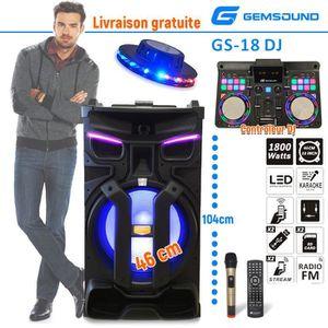 ENCEINTE ET RETOUR Enceinte active Contrôleur DJ Gemsound GS-18 LED -