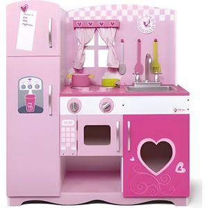 DINETTE - CUISINE Grande Cuisine rose en bois enfant 85x30,5x91 cm -