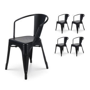 CHAISE KOSMI - Lot de 4 chaises en métal Noir Style Indus