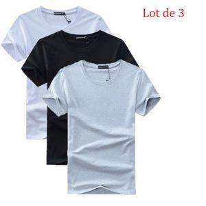 T-SHIRT Lot de 5 T shirt Homme uni XXXXXL basique Tee shir