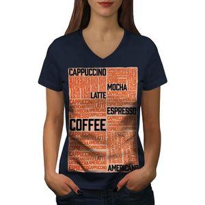 T-SHIRT café Latté Moka Slogan Women  T-shirt à sonnerie  