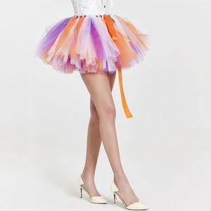 JUPE Femmes mode haute taille Tulle plissée couleur uni