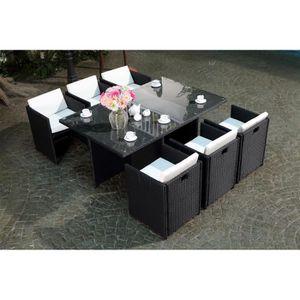 Table de jardin en resine tressee avec chaise encastrable