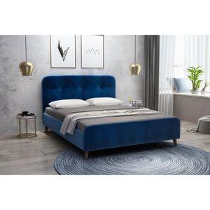 STRUCTURE DE LIT VELVETY Lit adulte 140x190 cm  - Velours bleu - L