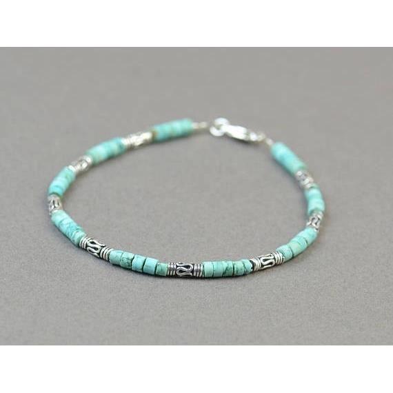 Bracelet perles turquoises massif_argent