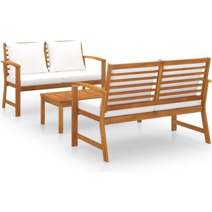 HAPPY*5434Magnifique- Salon de jardin 3 pcs avec coussin Set bistrot 3 pcs Ensemble repas de jardin 2 personnes Ensemble Table et Ch