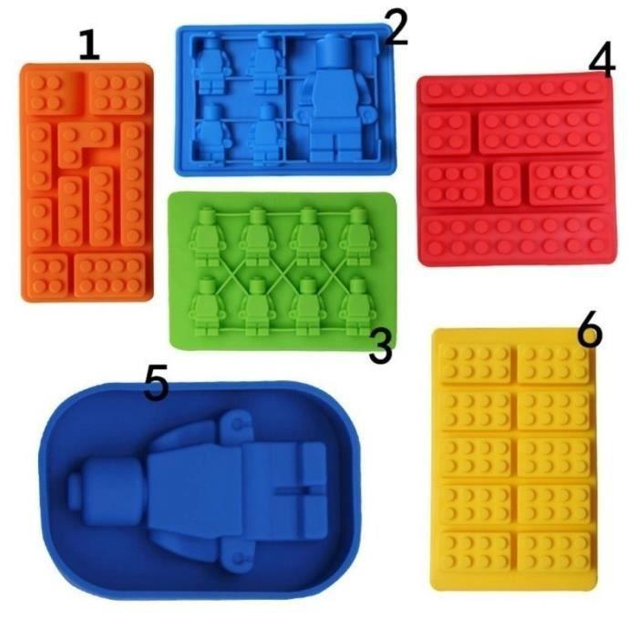 NO.4style Creative Cuisine Accessoires Rectangulaire Lego Silicone Chocolat Moule Gâteau Outils Glace Gelée