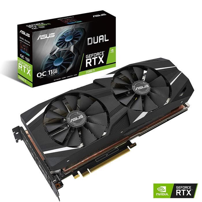 ASUS Carte Graphique DUAL-RTX2080TI-O11G, OC Édition (Nvidia GeForce RTX 2080Ti , 11Go Mémoire GDDR6)