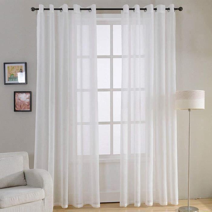 Lot de 2 Rideaux Voilages tamisants à Oeillets ronds décoration pour salon chambre, Blanc, 140x220 LITT5987