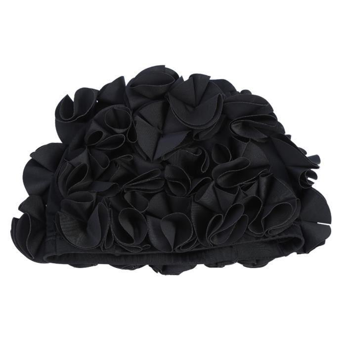 Garosa Bonnet de bain Femmes Enfants Forme De Fleur Mode Chapeau De Bain Élastique Bonnet De Bain Cheveux Longs (Noir)
