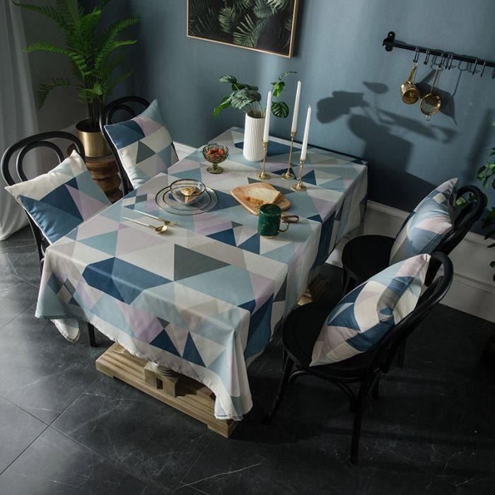 Nappe de Table Rectangulaire 140x180 cm Bleu Tissu de Table Imperméable Grand Triangle pour Maison Restaurant Mariage Cérémonie