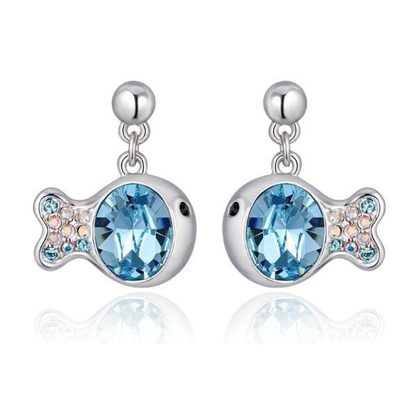Boucles d'oreilles Poisson en Cristal de Swarovski Element Bleu et Plaqué Rhodium