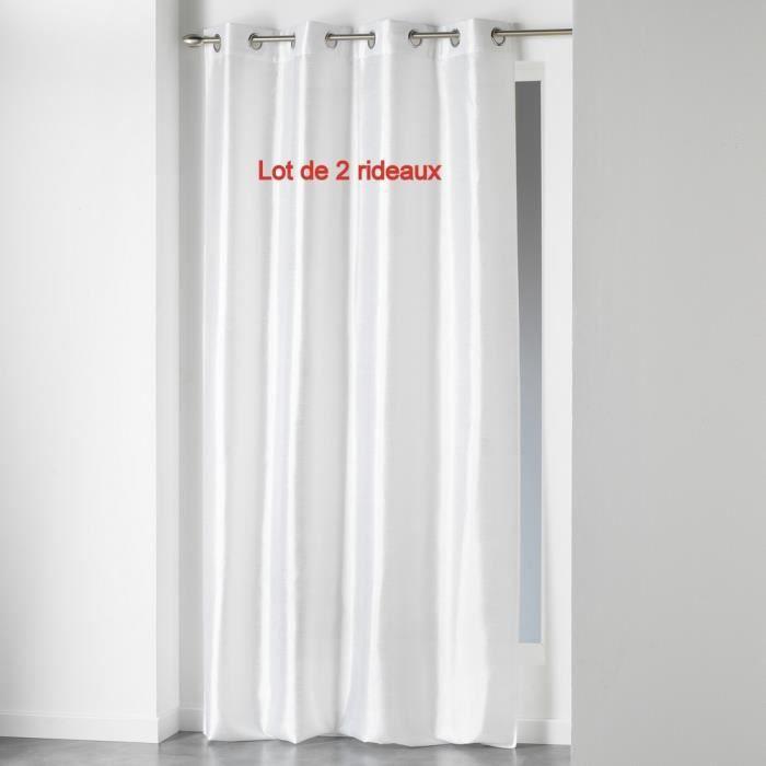 Lot de 2 rideaux a oeillets 140 x 240 cm shantung uni shana Blanc