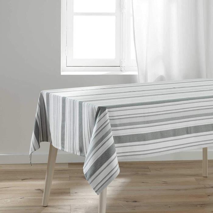Nappe rectangulaire pour table en rayures grises