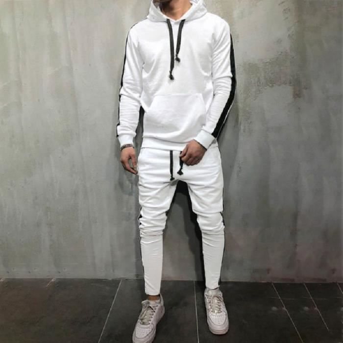 Libaib Hoodie Patchwork Automne Hiver Sweatshirt hommes Les Pantalons Ensembles Survêtement Suit