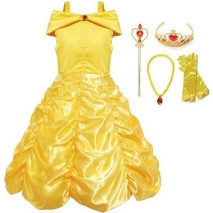 Filles Robe de Princesse avec Bretelles Déguisement Cosplay+4 Accessoires