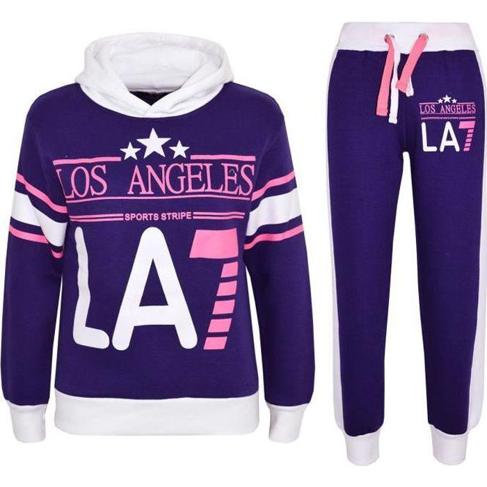 LOS ANGELES LA7 imprimé à capuche Survêtement Haut et Bas Joggers Pour Filles 5-13 An
