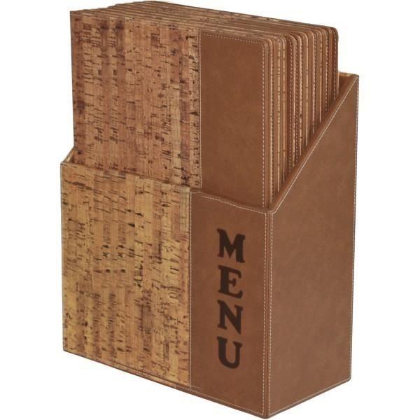 Ensemble porte-menu Securit® + 10 protège-menus format A4 - Simili cuir imitation liège - 35,2x27x14,6cm