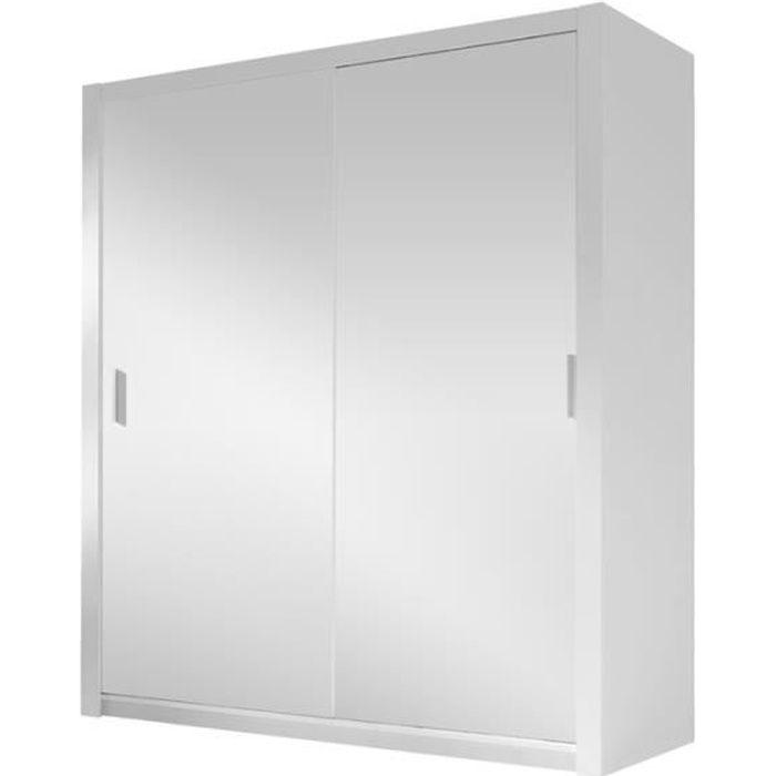 Armoire portes coulissantes - ORDU - 120 cm - blanc