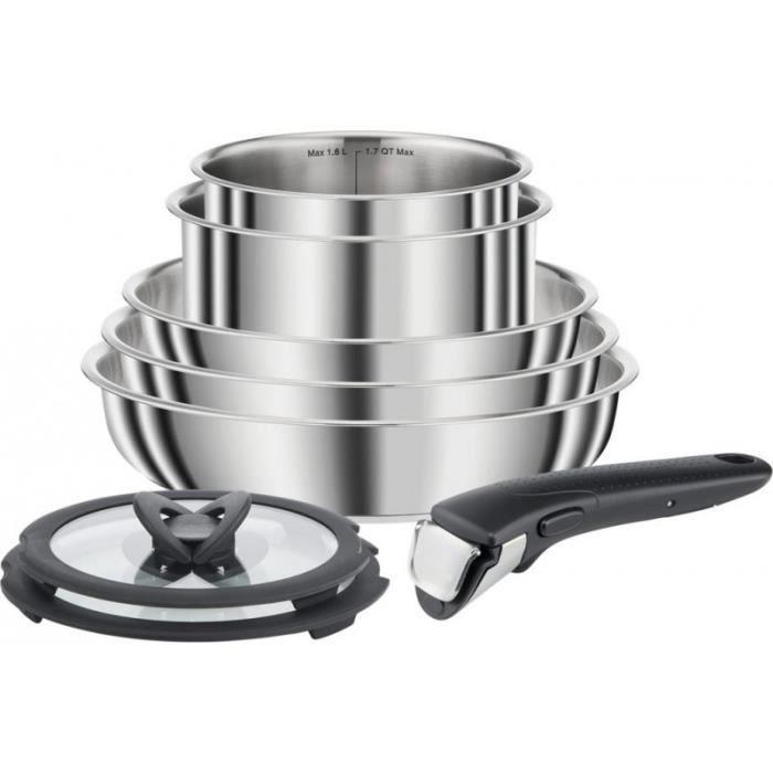 SEB L953S804 COMPACT Set 8 pièces INOX Poêles et casseroles empilables Tous feux dont induction