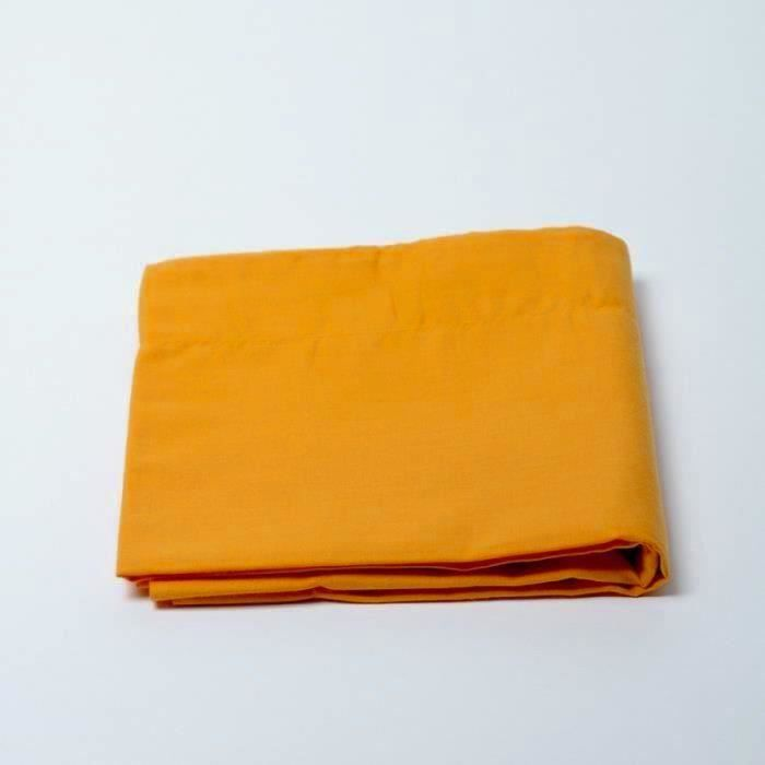 Drap Plat 240x300cm HAUTE QUALITE - ORANGE 100% coton - TCP