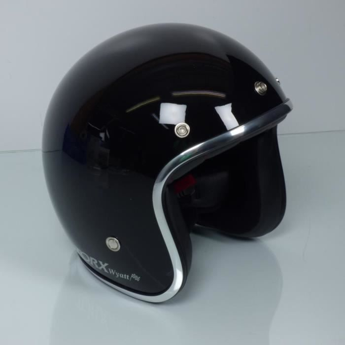 Casque bol Torx Wyatt noir brillant Taille S moto scooter mobylette custom neuf