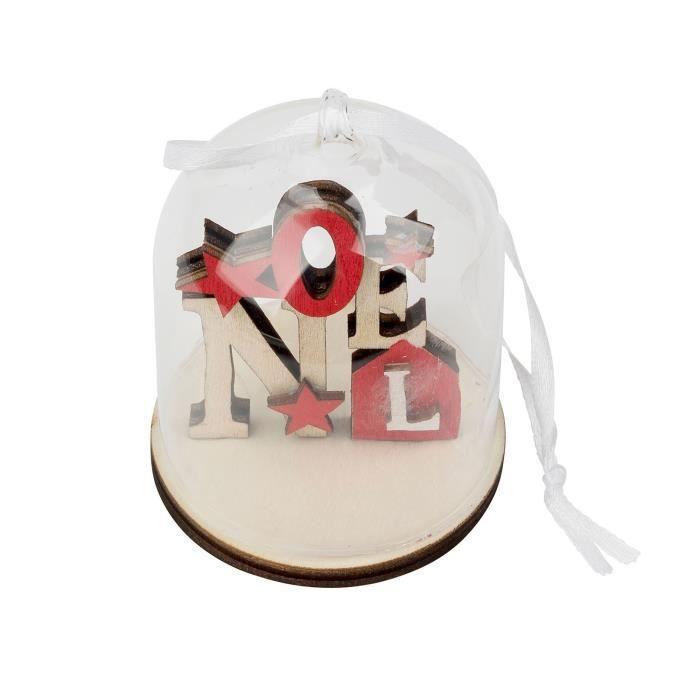 Scène de Noel en Bois de décoration à suspendre - Globe en verre - rouge de TRIXES