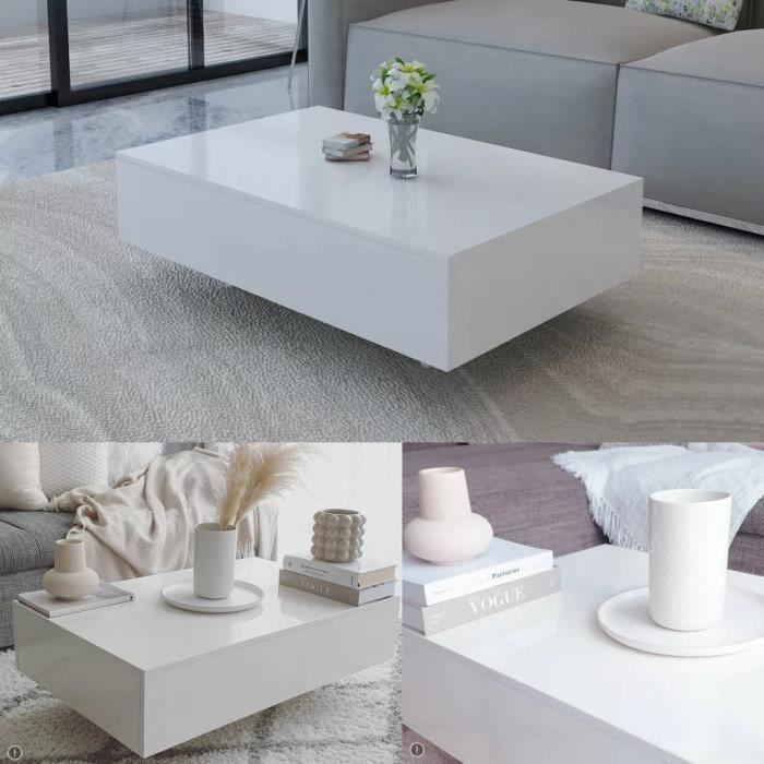 Table basse de salon, blanche avec une finition de haute brillance modern 85 x 55 x 31 cm, MDF et verre trempé