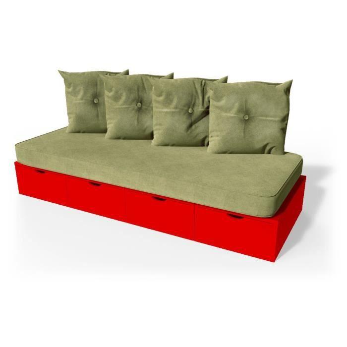 Banquette cube 200 cm + futon + coussins