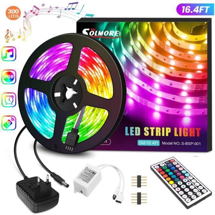 5M Bande LED 5050 RGB Multicolore IP65 /Étanche avec T/él/écommande IR 40 touches et APP Contr/ôle Bande Lumineuse pour Maison F/ête Mariage Cuisine Ext/érieur Ruban Led Bluetooth Int/érieur
