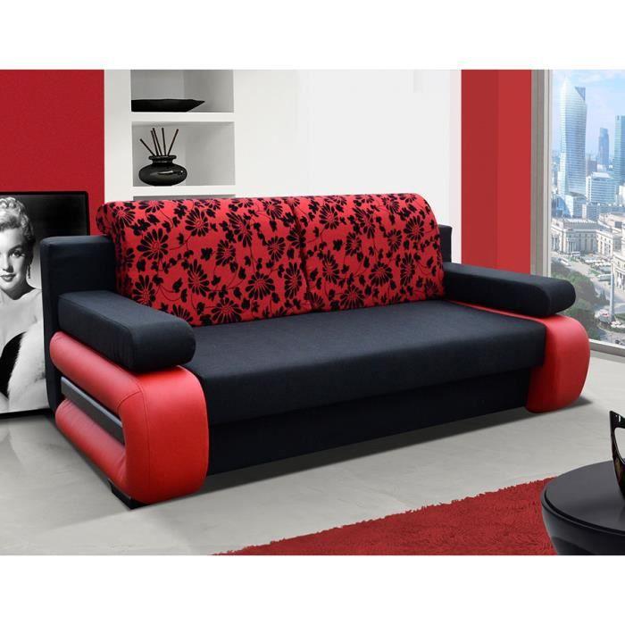 Canape Convertible En Tissu Avec Coffre Amanda 3 Noir Rouge L 200 X P 100 X H 89 Cm Achat Vente Canape Sofa Divan Cdiscount