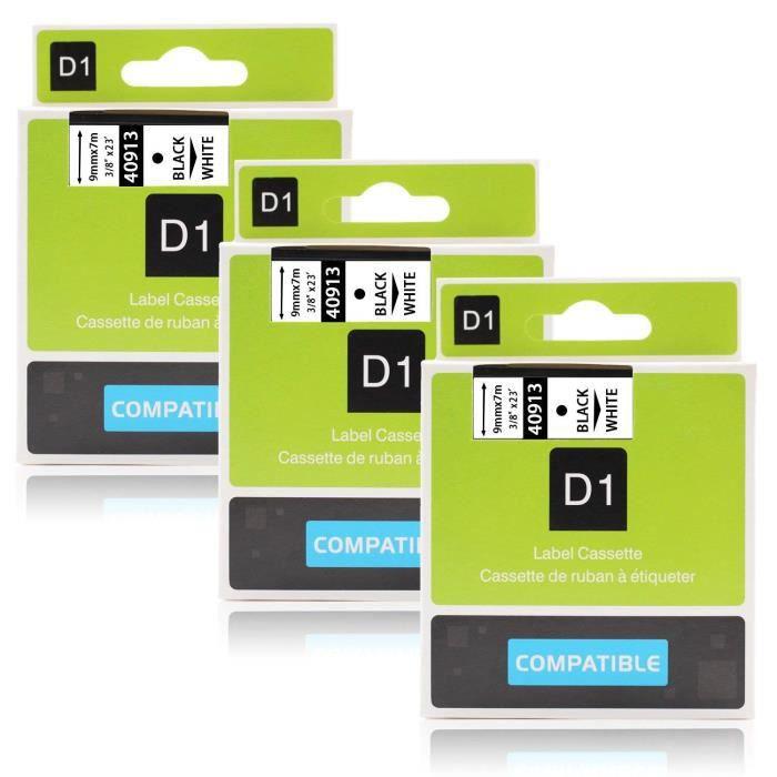 2 x Cassette Ruban Etiquette D1 40913 Noir sur Blanc compatible pour Dymo imprimante d/étiquettes 9mm x 7m