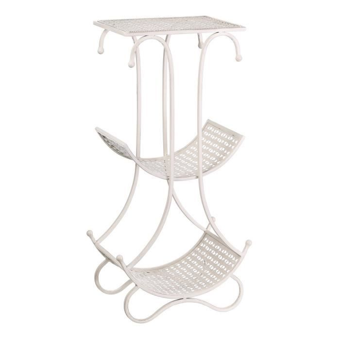 Table en fer forg peint en blanc 41x27x80 cm achat - Table fer forge blanc ...
