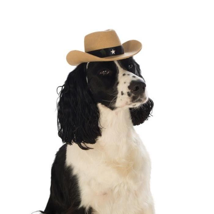 CHAPEAU - PERRUQUE chapeau de cowboy Brown pour chien Size: M/L
