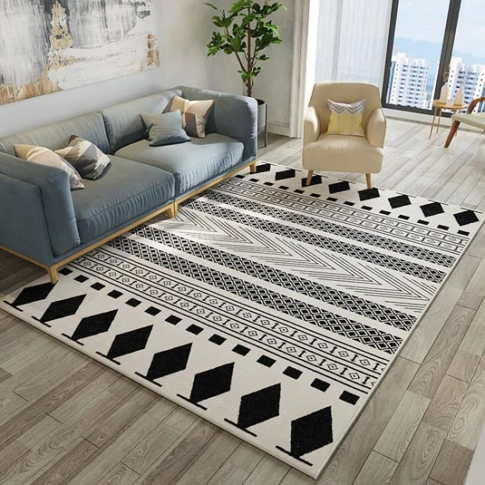 tapis d 39 int rieur moderne noir et blanc motif g om trique pour le salon 125 80cm achat vente. Black Bedroom Furniture Sets. Home Design Ideas