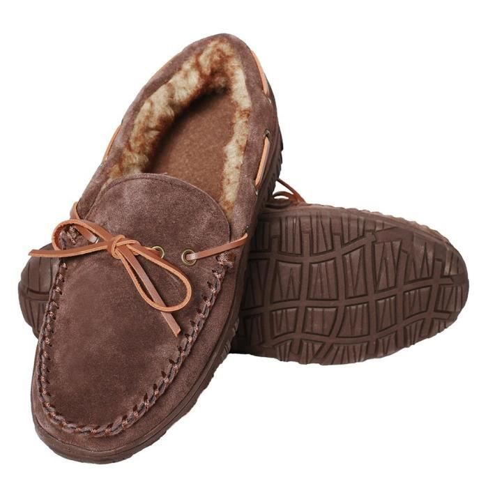 Comfortable Loafers Indoor Outdoor Classic Leather Moccasins Slippers Winter Shoes UH3RU Taille-42