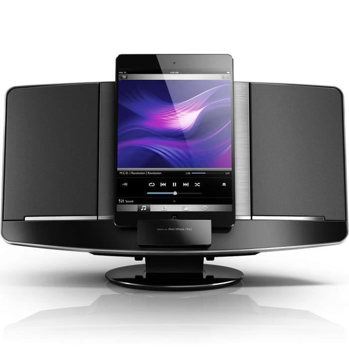 philips dcm2068 micro cha ne hifi docking apple station d 39 accueil avis et prix pas cher. Black Bedroom Furniture Sets. Home Design Ideas