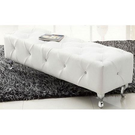 banc capitonn lady strass cuir blanc achat vente banc cuir m tal soldes cdiscount. Black Bedroom Furniture Sets. Home Design Ideas