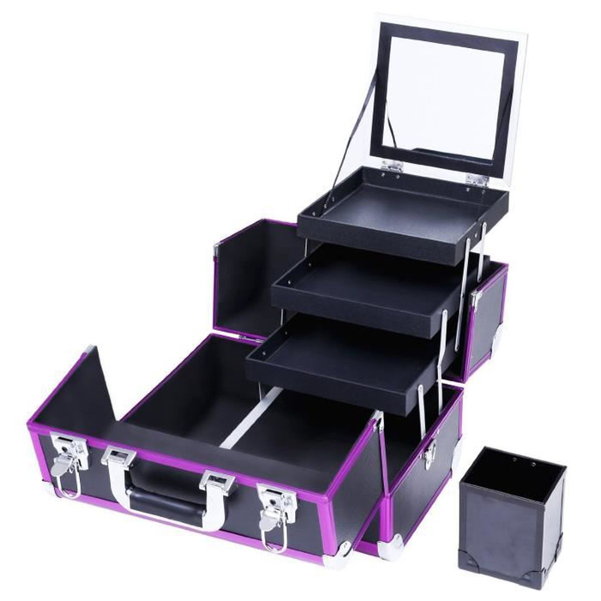 beauty case malette maquillage avec un miroir et 3. Black Bedroom Furniture Sets. Home Design Ideas