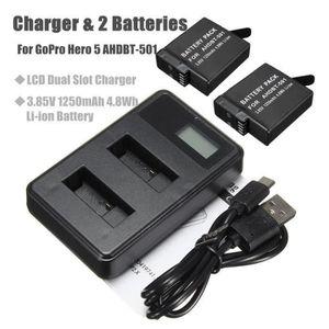 BATTERIE APPAREIL PHOTO HT 2x 1250mAh Li-ion Batterie + LCD 2-Port Chargeu